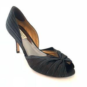 Badgley Mischka black peep toe heels pumps 8 M